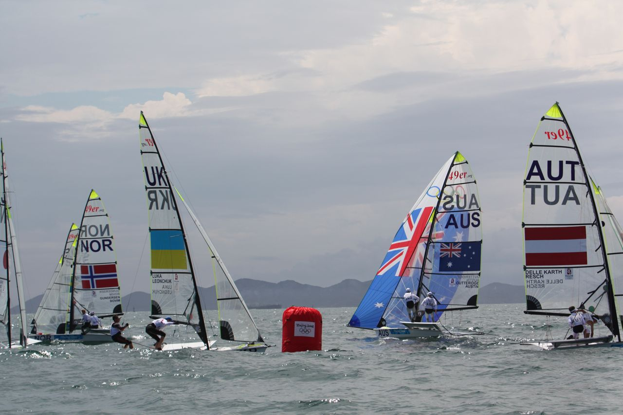 Australian 49er gybe-sets at the 2008 Olympics