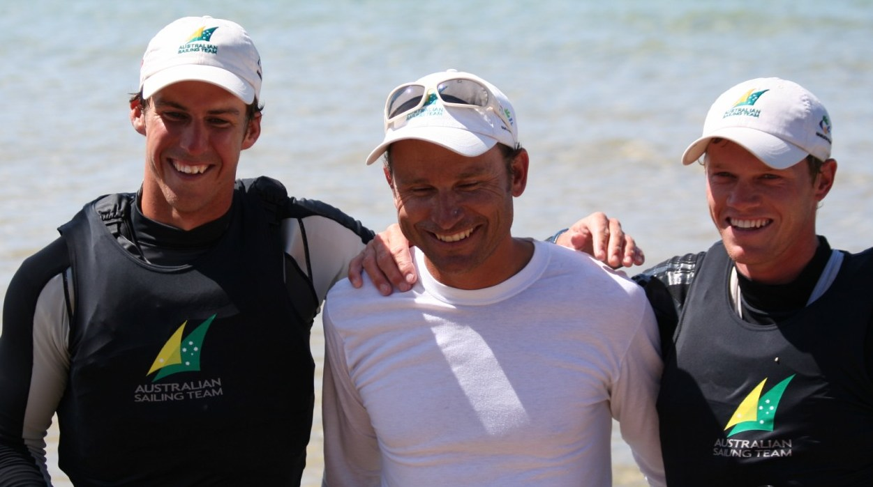 Emmett Lazich after coaching Nathan Outteridge and Ben Austin to 49er Worlds 2008 victory