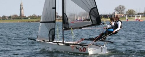 GT60 skiff showing slight windward heel and perfect balance