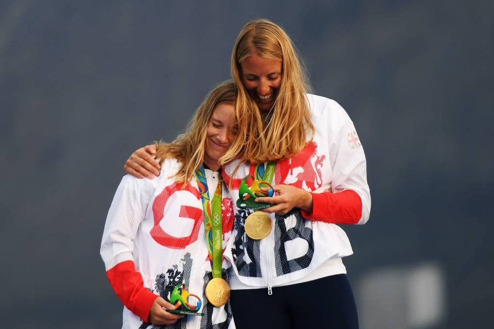 Hannah Mills and Saskia Clark with Rio gold medals