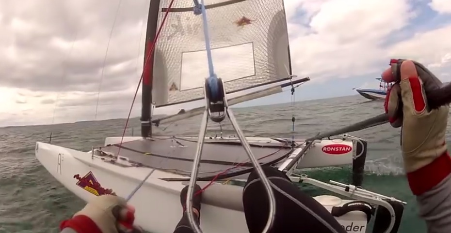 Nathan Outteridge onboard foiling A-Class