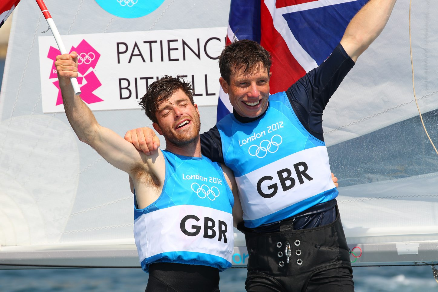 Luke (left) celebrating 2012 silver with Stuart Bithell