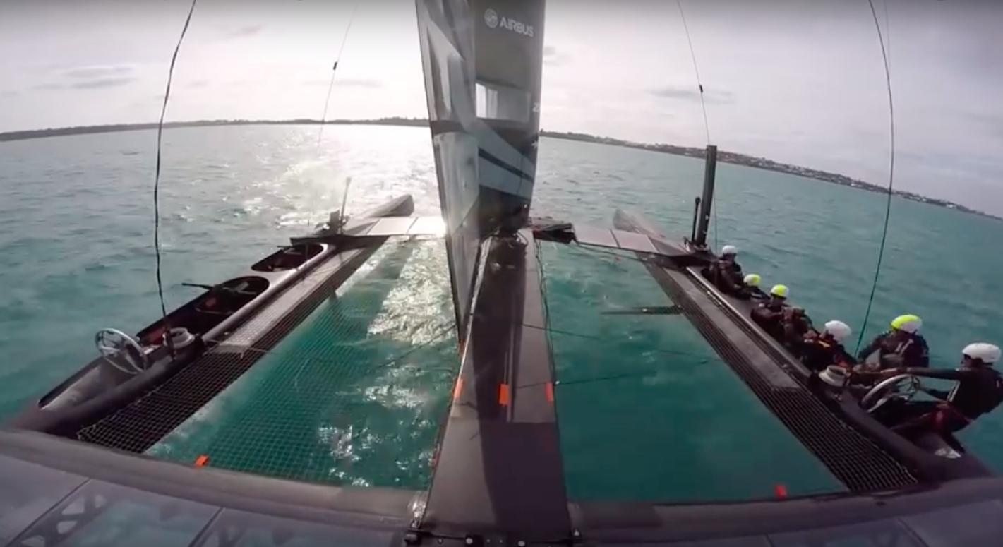 SoftBank Team Japan AC foiling tack
