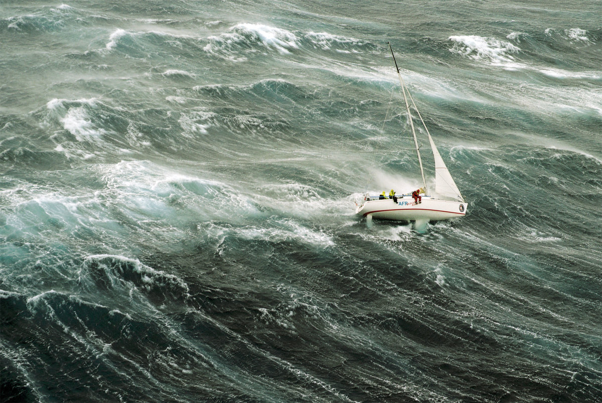 Survival storm conditions in the infamous 1998 Sydney-Hobart Race. Are you prepared to set sails in a blow like this?