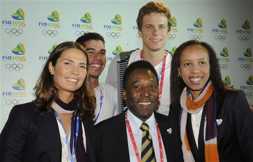 Isabel Swan with Pele and other Brazilian sports stars