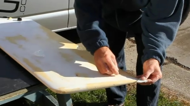 Repairing a damaged dinghy centerboard