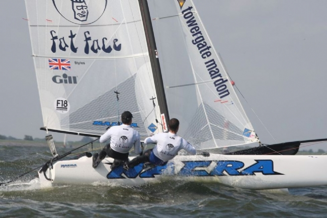 Hugh Styles sailing the latest Nacra F18
